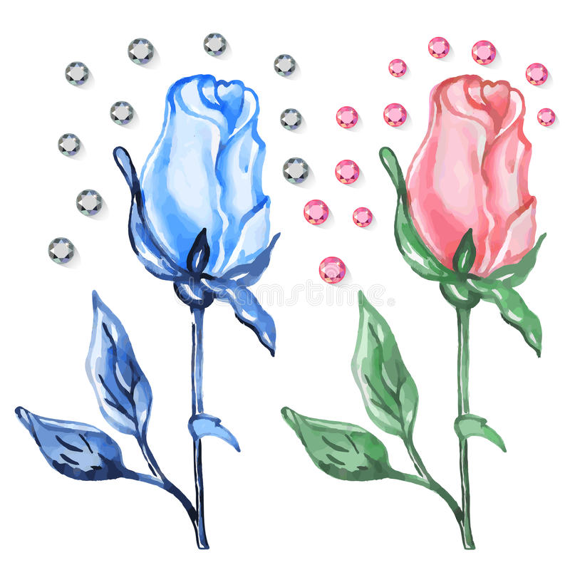 Botões cor-de-rosa & azuis das rosas com diamantes ilustração stock