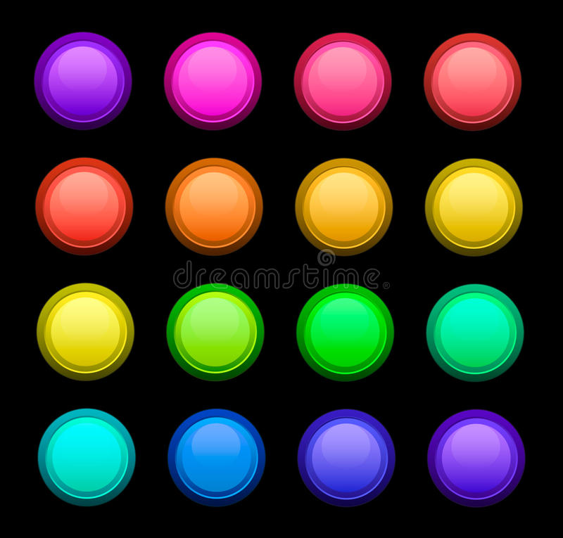 Botões da cor do jogo do vetor imagens de stock