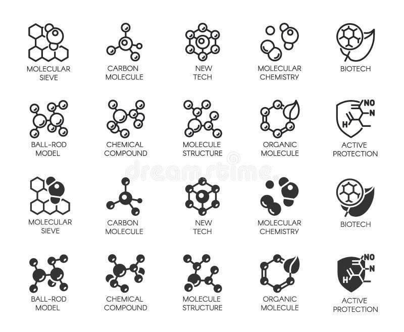 Botões da molécula Os ícones ajustam-se na linha e o glyph projeta para científica, química, exame, projetos médicos, educacionai ilustração stock