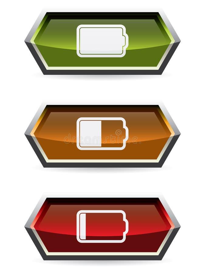 Botões da Web com símbolo da bateria ilustração do vetor