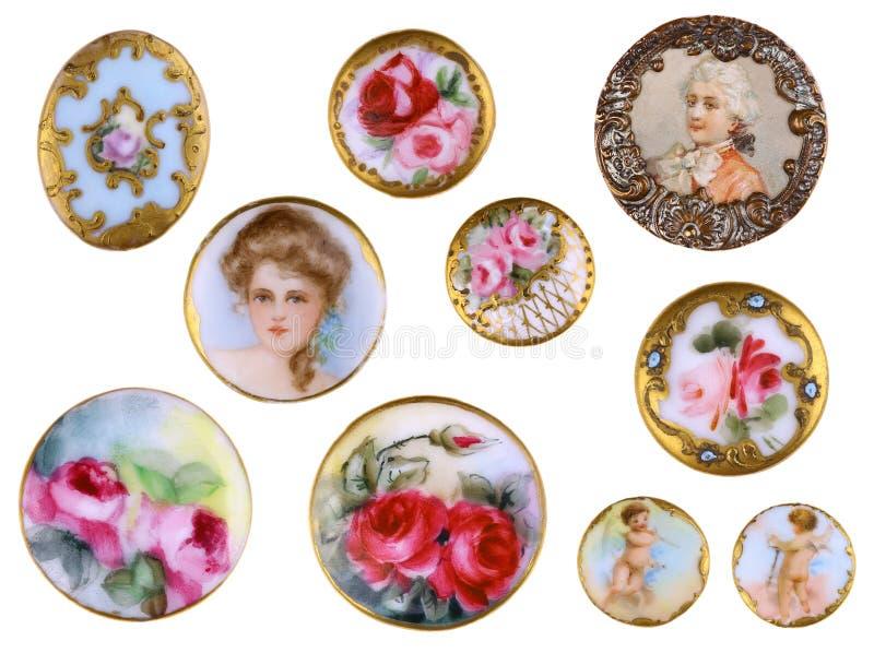 Botões de camisa vitorianos c1890 da porcelana da costura velha fotografia de stock