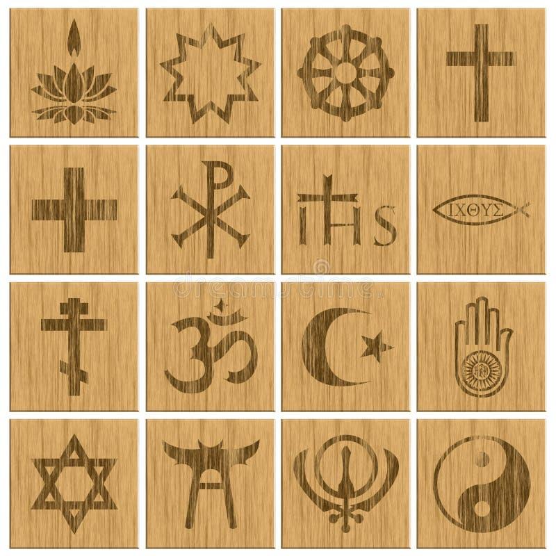Botões de madeira religiosos dos símbolos da religião ilustração royalty free