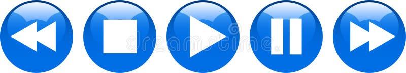 Botões de pausa da parada do jogo azuis ilustração royalty free