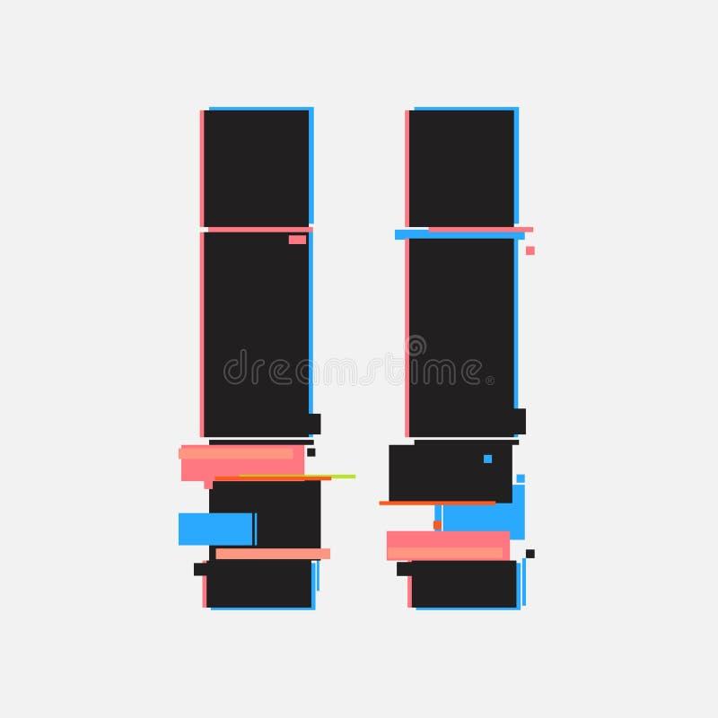Botões de pausa no estilo do pulso aleatório Projeto mínimo abstrato do molde para marcar Cartazes modernos da tampa do fundo, ba ilustração do vetor