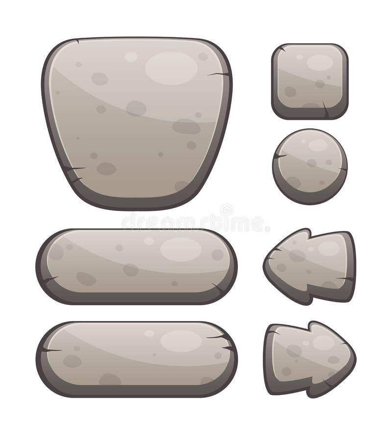 Botões de pedra para o projeto da Web ou de jogo ilustração do vetor