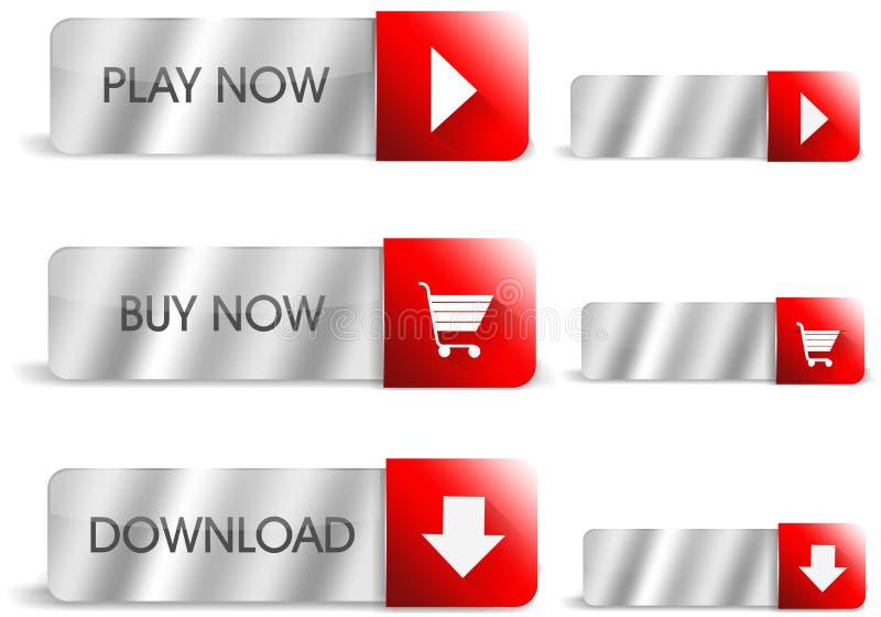 Botões de prata e vermelhos ilustração stock