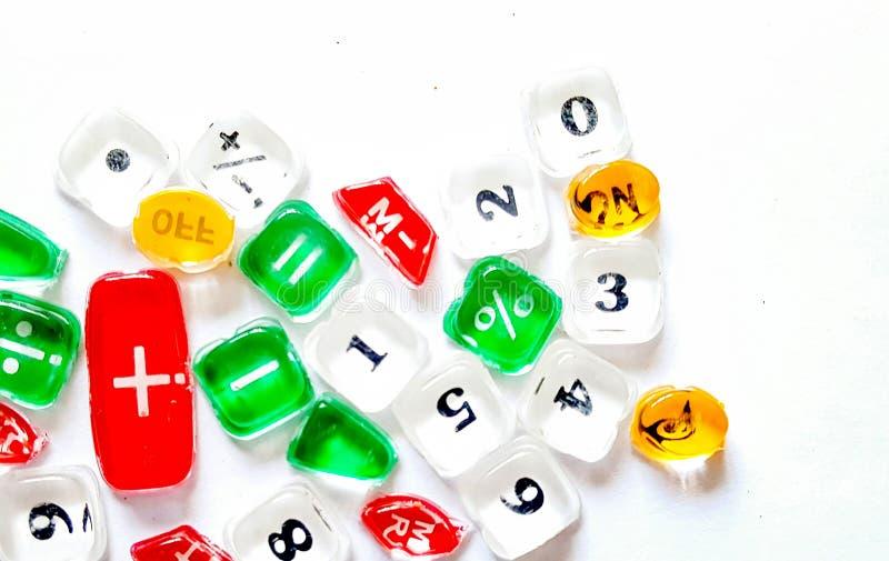 Botões de Tranculucent de uma calculadora com números foto de stock royalty free