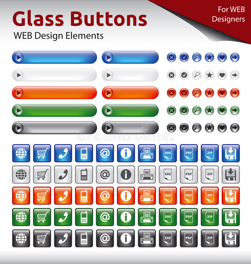 Botões de vidro - elementos do design web imagens de stock