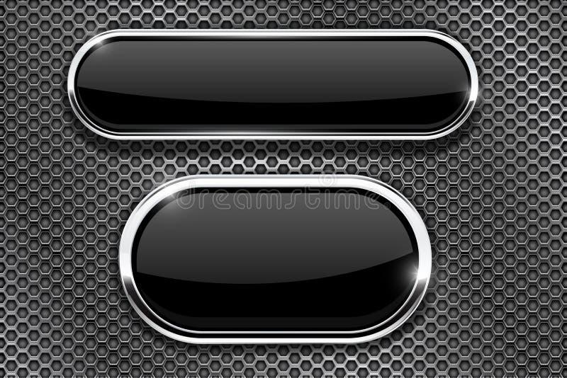Botões de vidro pretos com quadro do cromo Em textura perfurada do metal ilustração stock