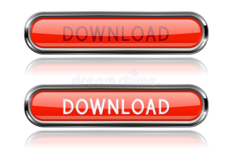 Botões de vidro vermelhos da transferência Ícones longos ovais da Web ilustração royalty free