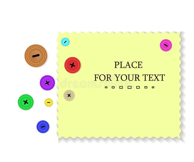 Botões derramados e uma parte de pano Fundo com botões e tela da amostra com espaço para seu texto ilustração stock