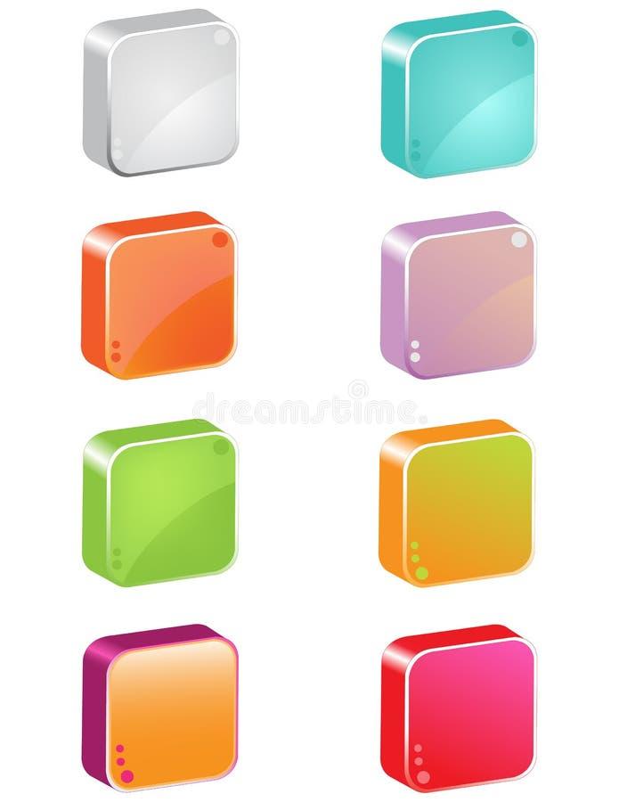botões do ícone 3d ilustração stock