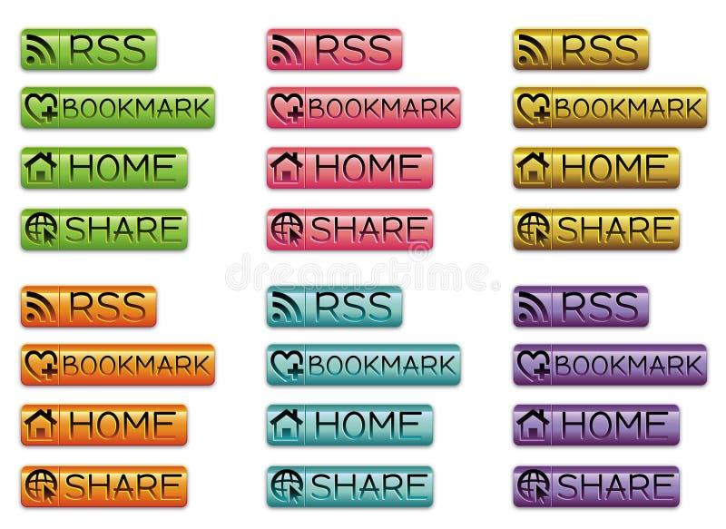 Botões do ícone da Web ilustração do vetor