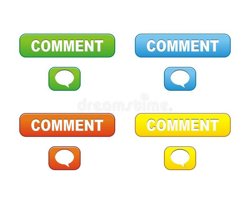 Botões do comentário ilustração do vetor
