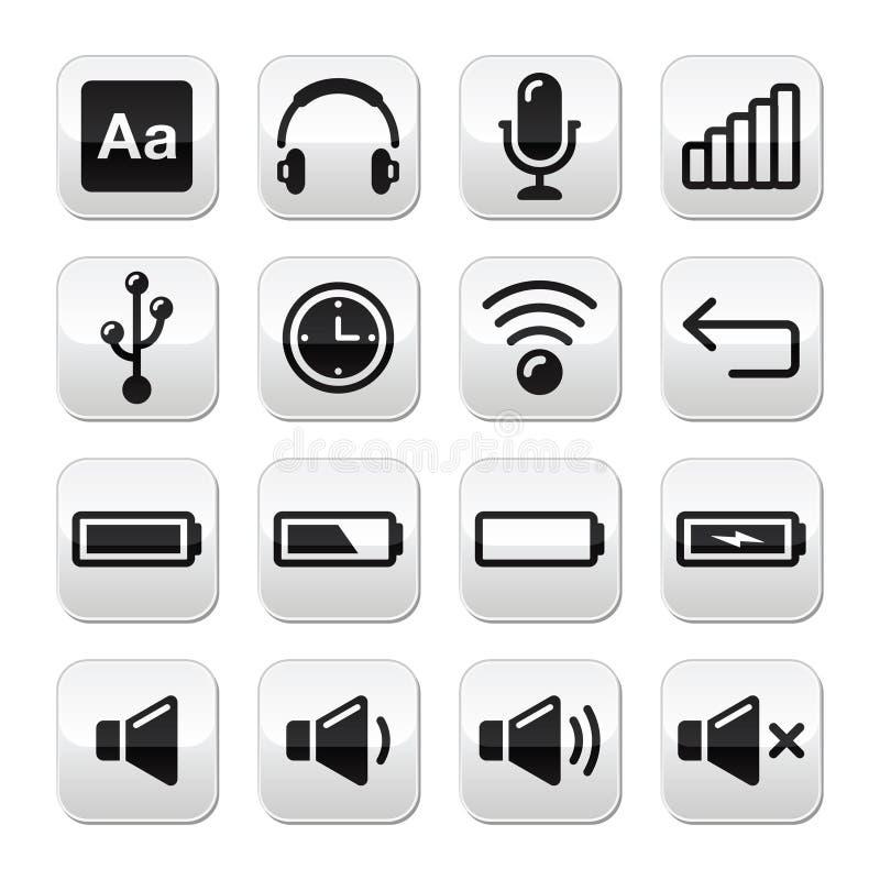 Botões do dispositivo electrónico/software informático ajustados -   ilustração do vetor