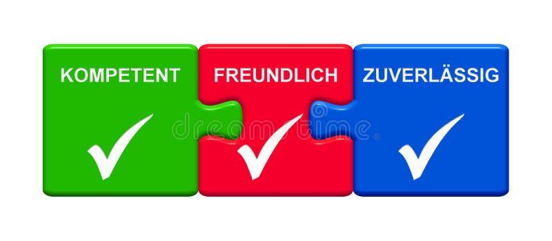3 botões do enigma que mostram a ilustração segura amigável capaz do alemão 3D ilustração do vetor