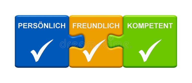 3 botões do enigma que mostram o alemão capaz amigável pessoal ilustração do vetor
