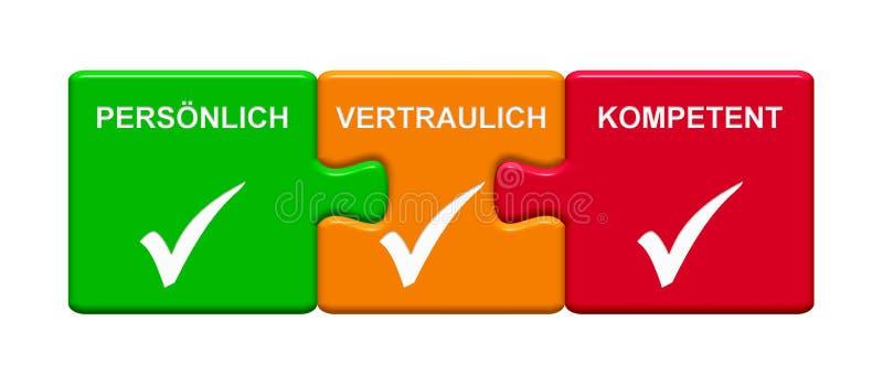 3 botões do enigma que mostram o alemão capaz confidencial pessoal ilustração stock