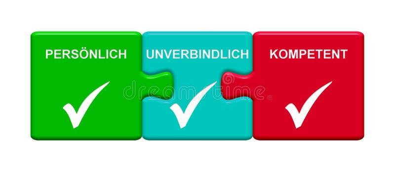 3 botões do enigma que mostram o alemão capaz provisório pessoal ilustração stock