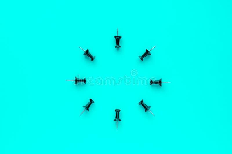 Botões do escritório no fundo azul fotos de stock royalty free