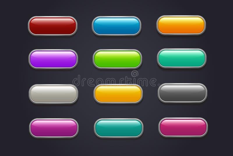 Botões do jogo Coleção lustrosa do vetor do botão do jogo de vídeo dos desenhos animados ilustração do vetor