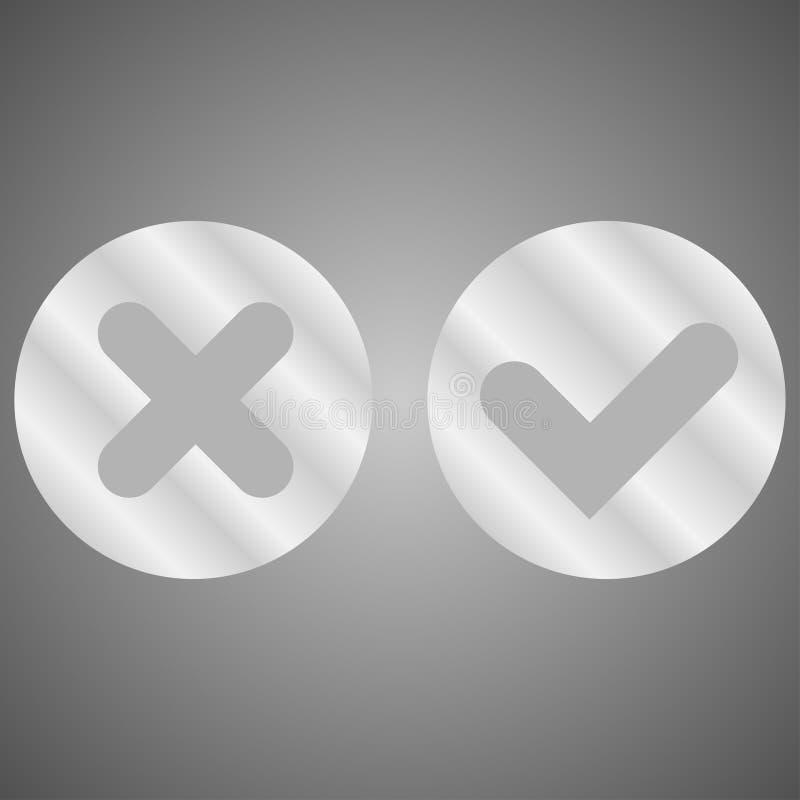 Botões do metal do divertimento sim e não ilustração do vetor