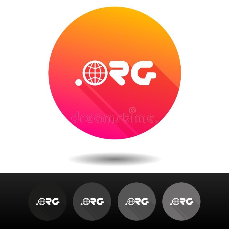 Botões do sinal do domínio ORG 5 símbolos níveis mais alto do domínio do Internet do vetor dos ícones ilustração royalty free