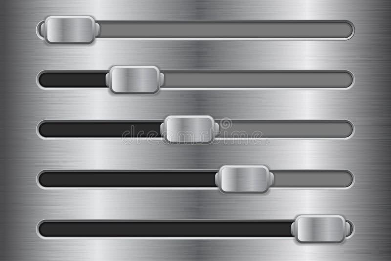 Botões do slider da relação do metal ilustração stock