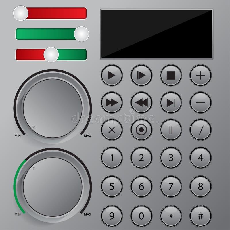 Botões do Web site e da aplicação da interface de utilizador ilustração stock