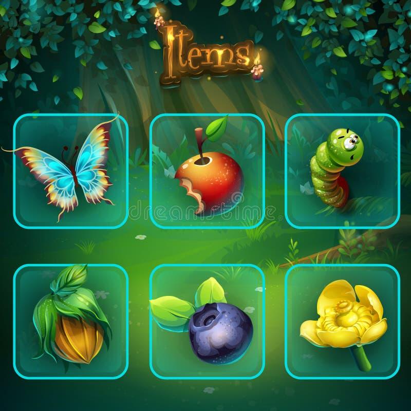 Botões e ícone ajustados dos artigos do GUI da floresta sombrio ilustração stock