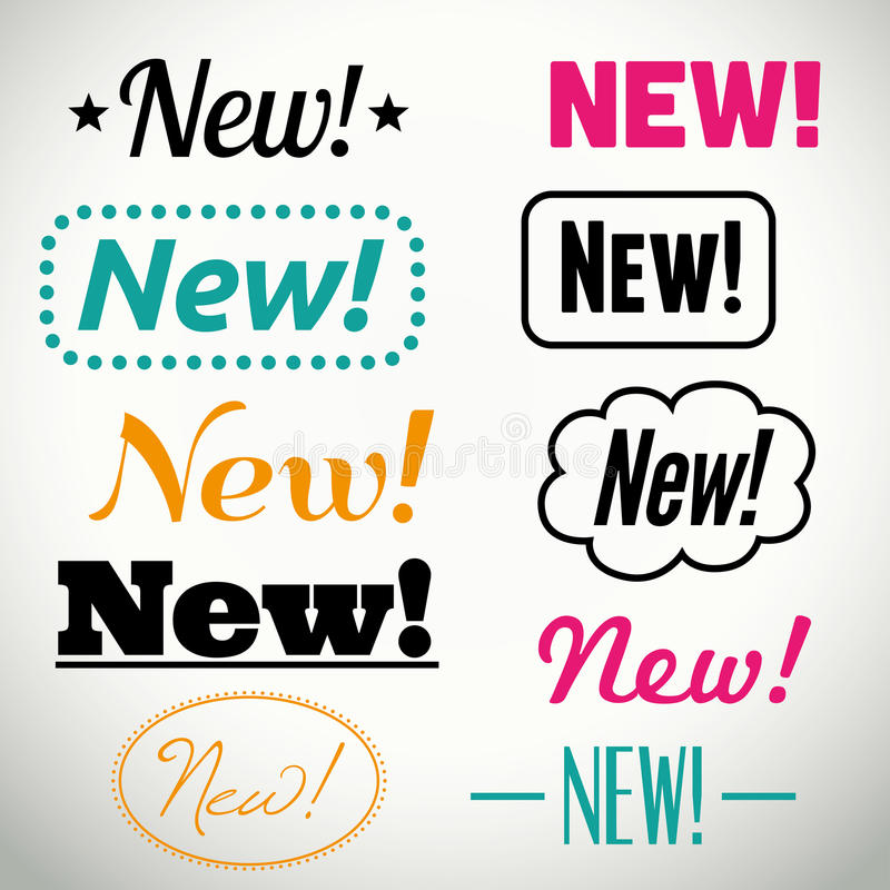 Botões e ícones novos do vetor ilustração stock