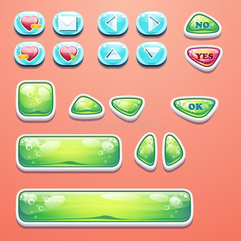 Botões glamoroso ajustados com um botão APROVADO, botões sim e não ao projeto e ao design web de jogos do computador ilustração royalty free