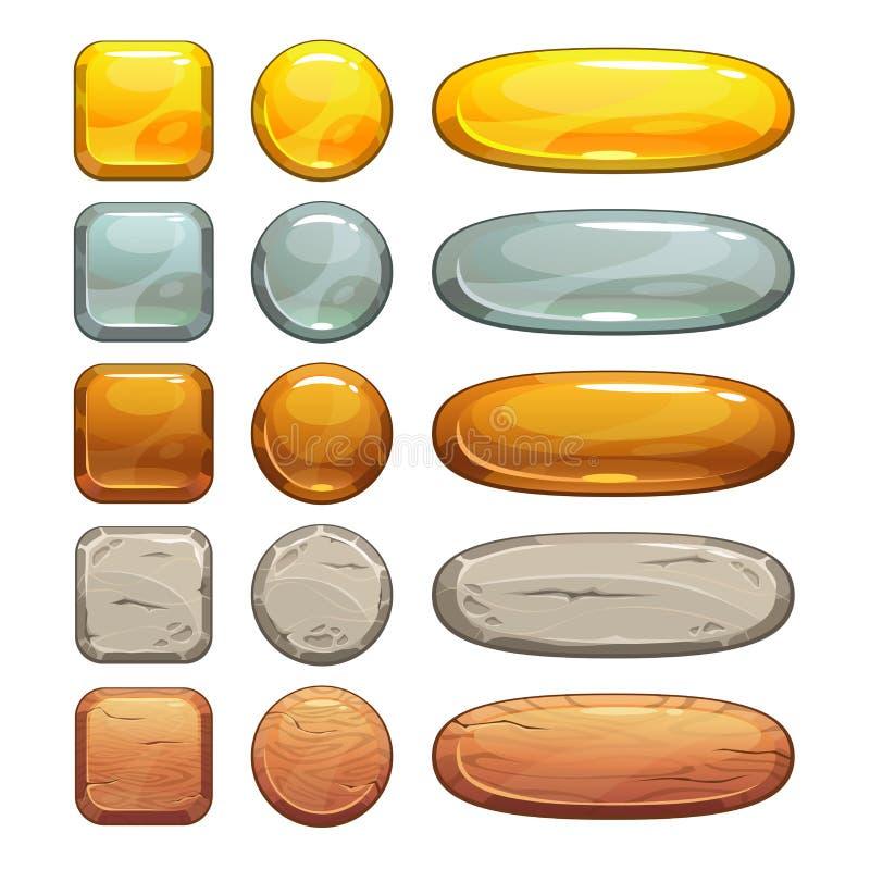 Botões metálicos, de pedra e de madeira ajustados ilustração royalty free