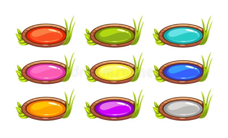 Botões ovais longos do vetor dos desenhos animados ajustados ilustração stock