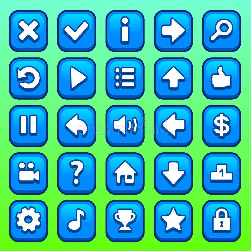 Botões quadrados azuis do jogo ajustados ilustração do vetor