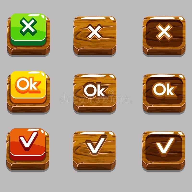 Botões quadrados de madeira para o jogo, APROVAÇÃO, sim, perto ilustração stock