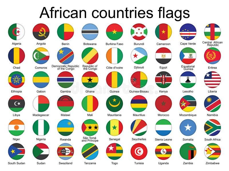 Botões redondos com as bandeiras de África ilustração stock
