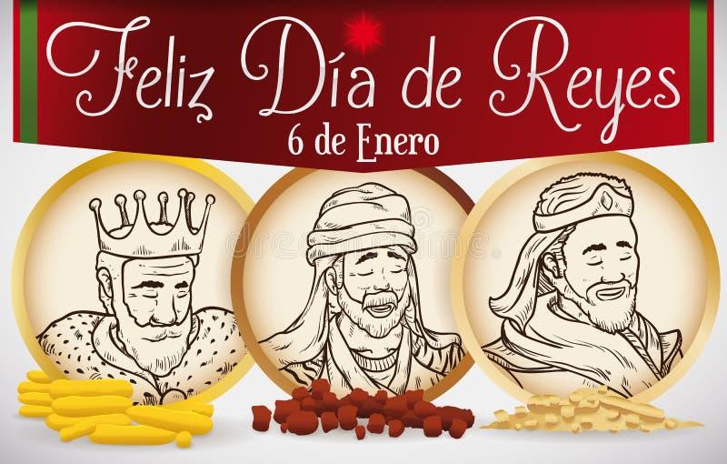 Botões redondos com os retratos dos três Reis Magos para o esmagamento, ilustração do vetor ilustração royalty free