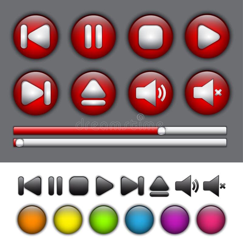 Botões redondos da aplicação com símbolos da reprodutor multimedia ilustração royalty free