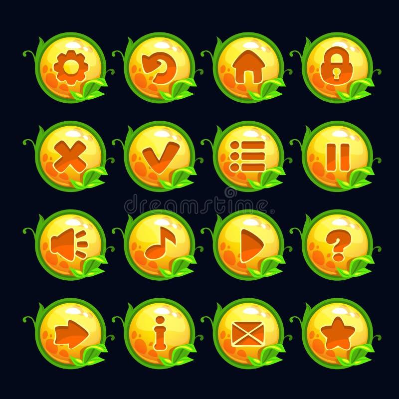 Botões redondos do menu do amarelo engraçado dos desenhos animados ilustração do vetor