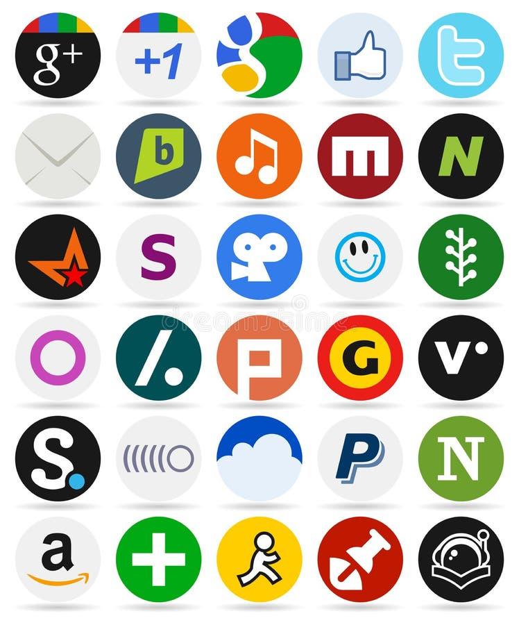 Botões redondos dos meios sociais com ícones [2] ilustração royalty free
