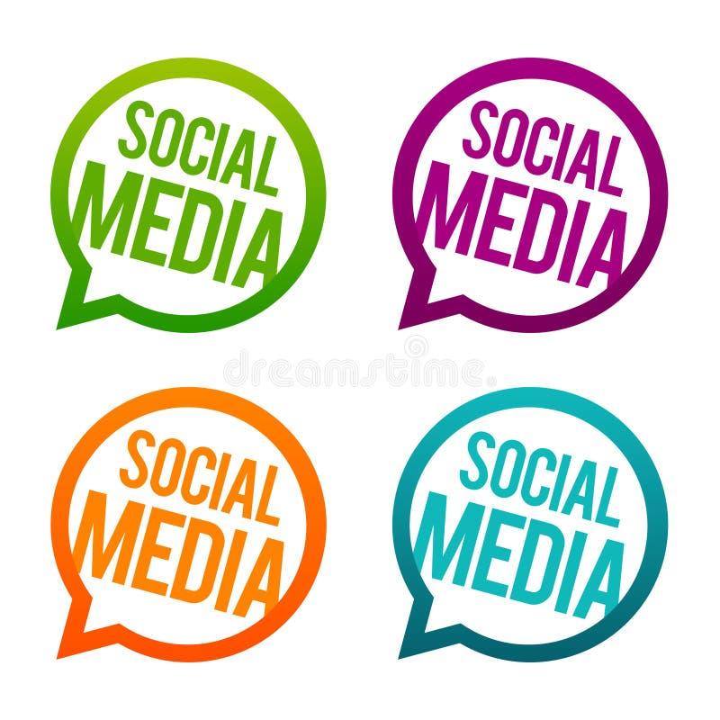 Botões redondos dos meios sociais Vetor do círculo Eps10 ilustração stock