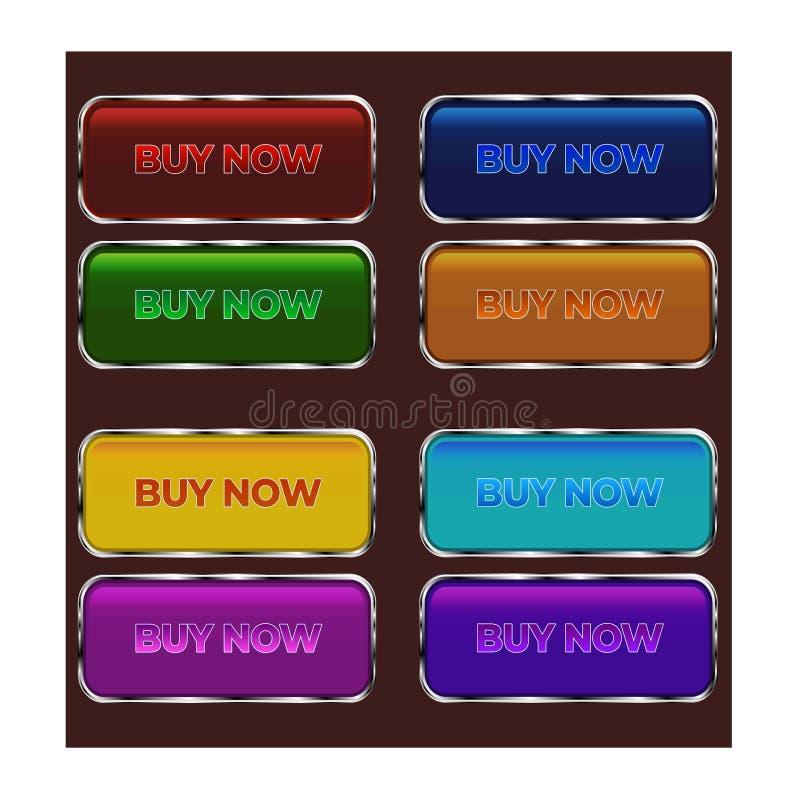 Botões retros simples coloridos do estilo ilustração do vetor
