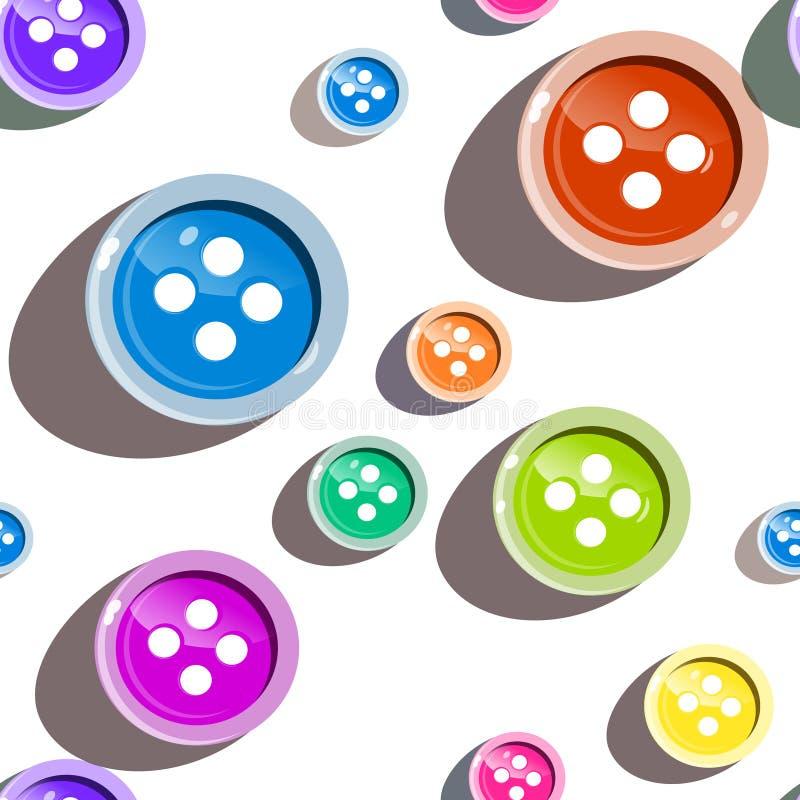 Botões sem emenda coloridos no fundo branco ilustração do vetor