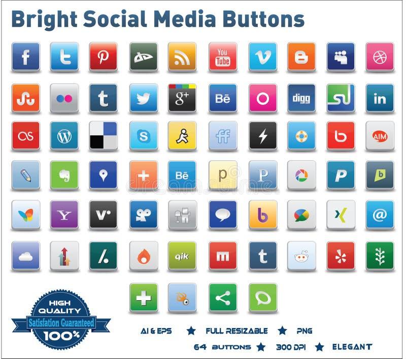 Botões sociais brilhantes dos media ilustração do vetor