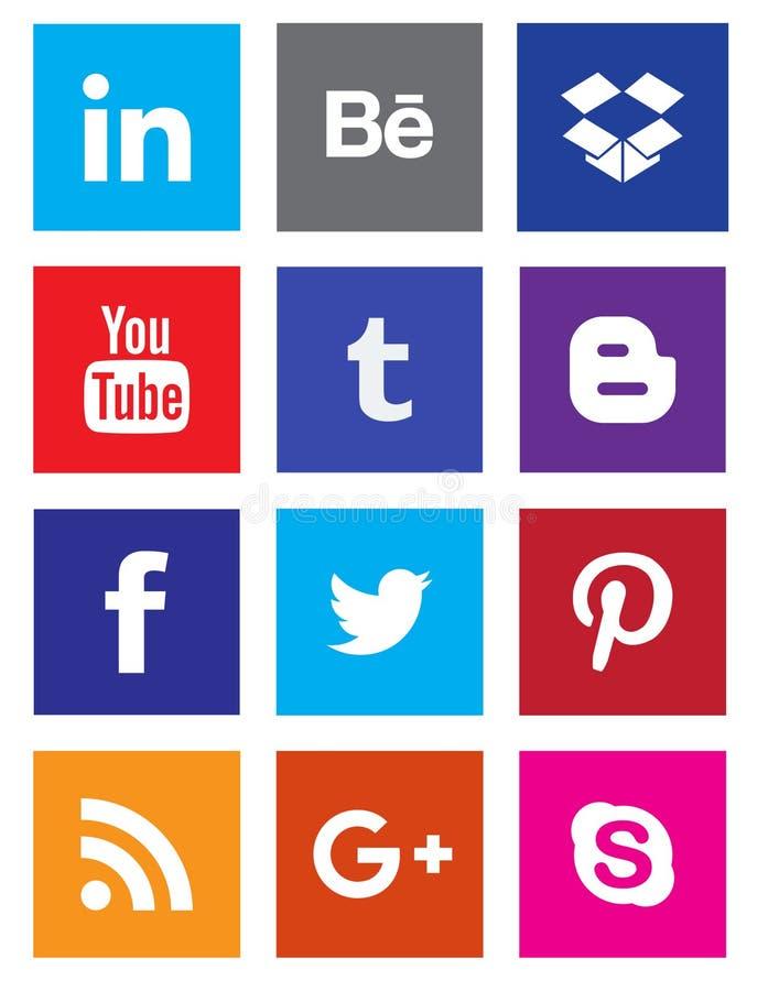 Botões sociais da coleção do ícone dos meios ilustração do vetor