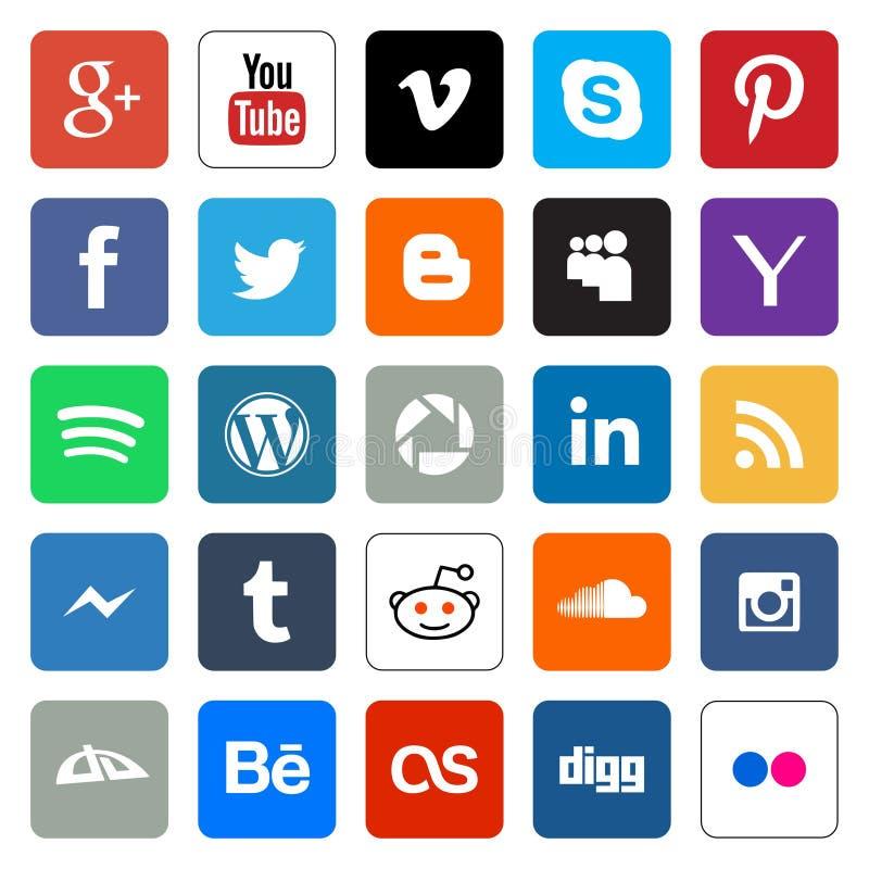 Botões sociais da Web dos meios ilustração royalty free