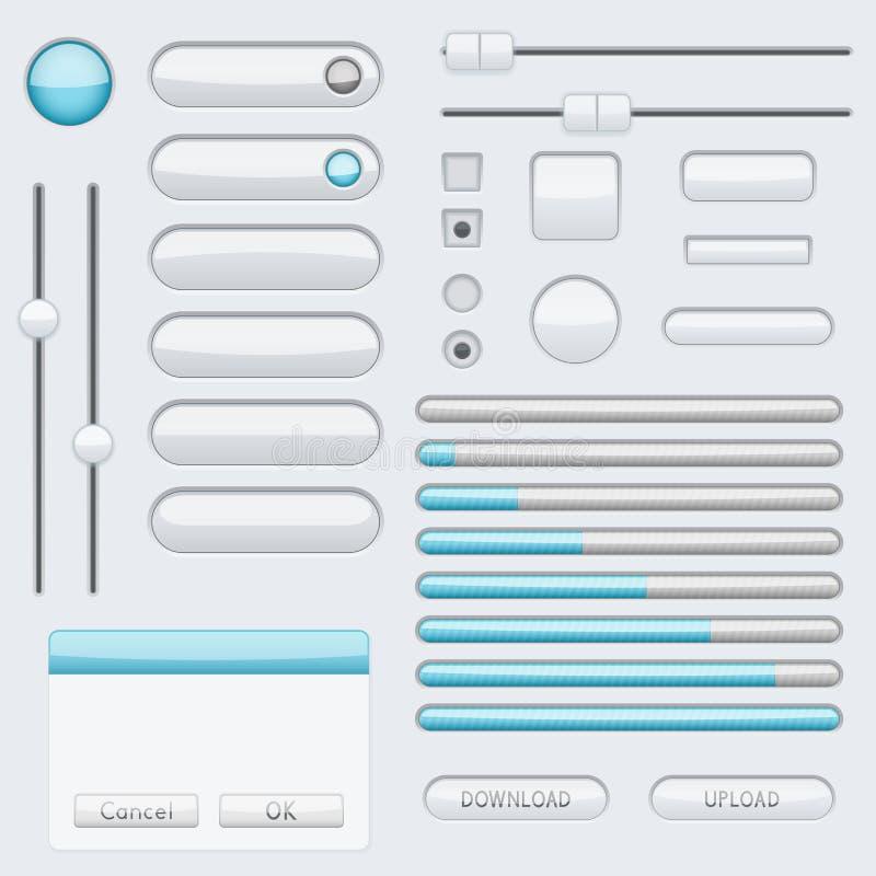 Botões vazios brancos com etiquetas azuis Ícones da relação da Web ilustração royalty free