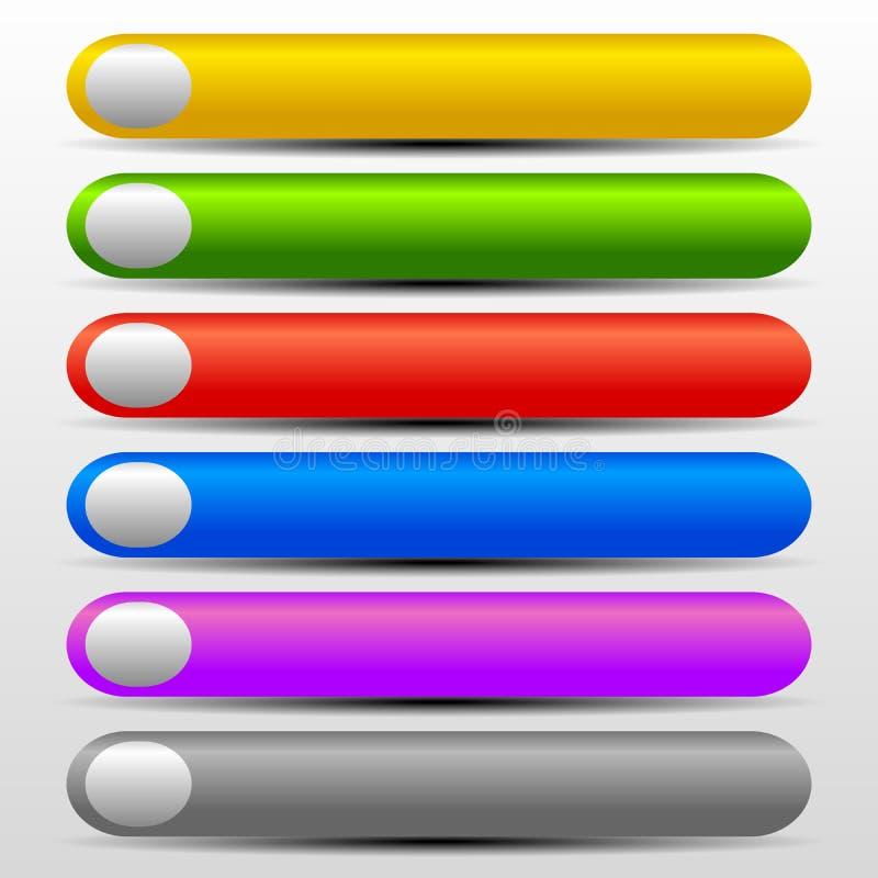 Botões vibrantes da Web com Gray Elements ilustração stock