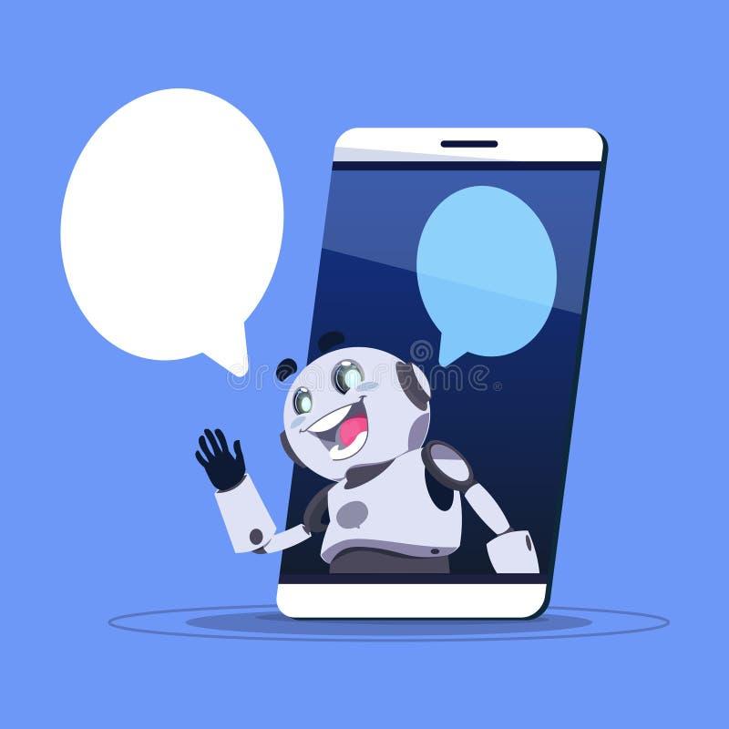 Bot App di chiacchierata di supporto tecnico nell'insegna del modello dello Smart Phone con lo spazio della copia, lo schiamazzo  illustrazione vettoriale